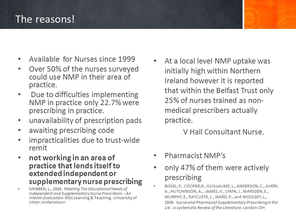The reasons! Available for Nurses since 1999 Over 50% of the nurses surveyed could use NMP in their area of practice. Due to difficulties implementing