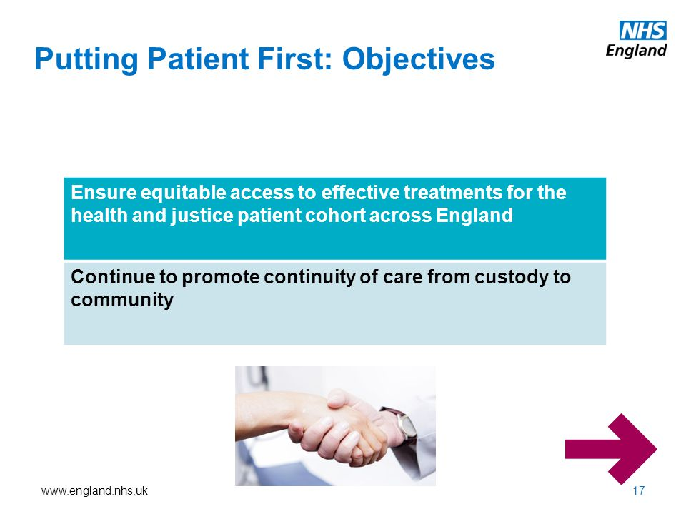 www.england.nhs.uk Putting Patient First: Objectives Ensure equitable access to effective treatments for the health and justice patient cohort across England Continue to promote continuity of care from custody to community 17