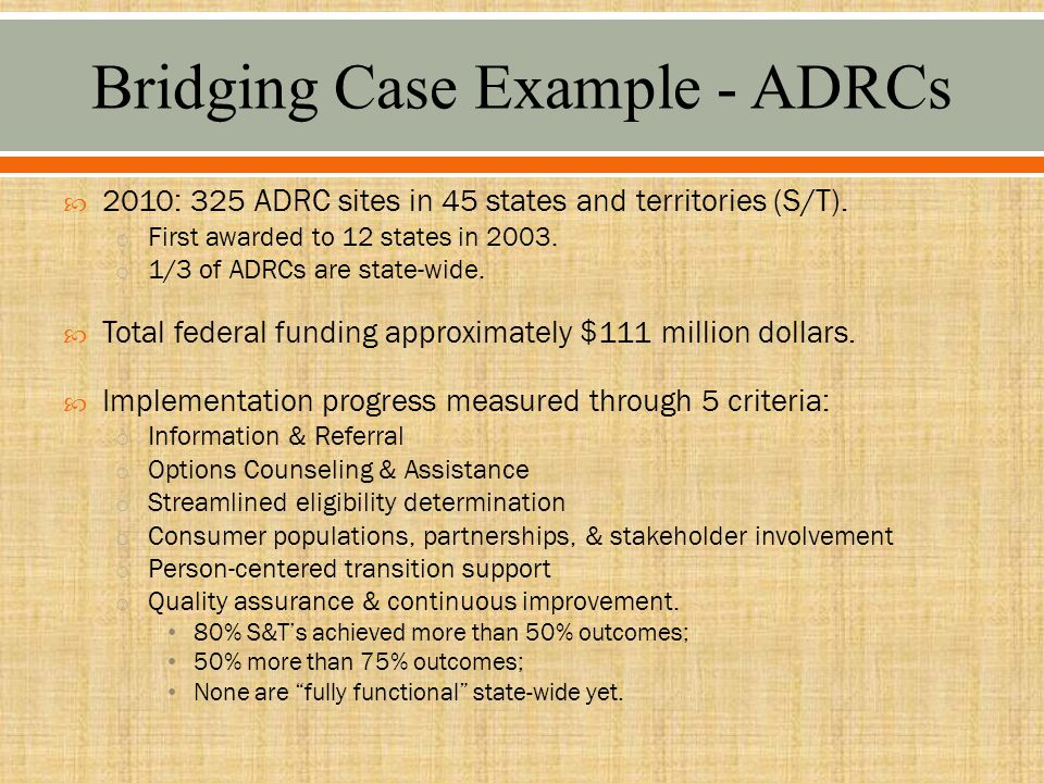  2010: 325 ADRC sites in 45 states and territories (S/T).