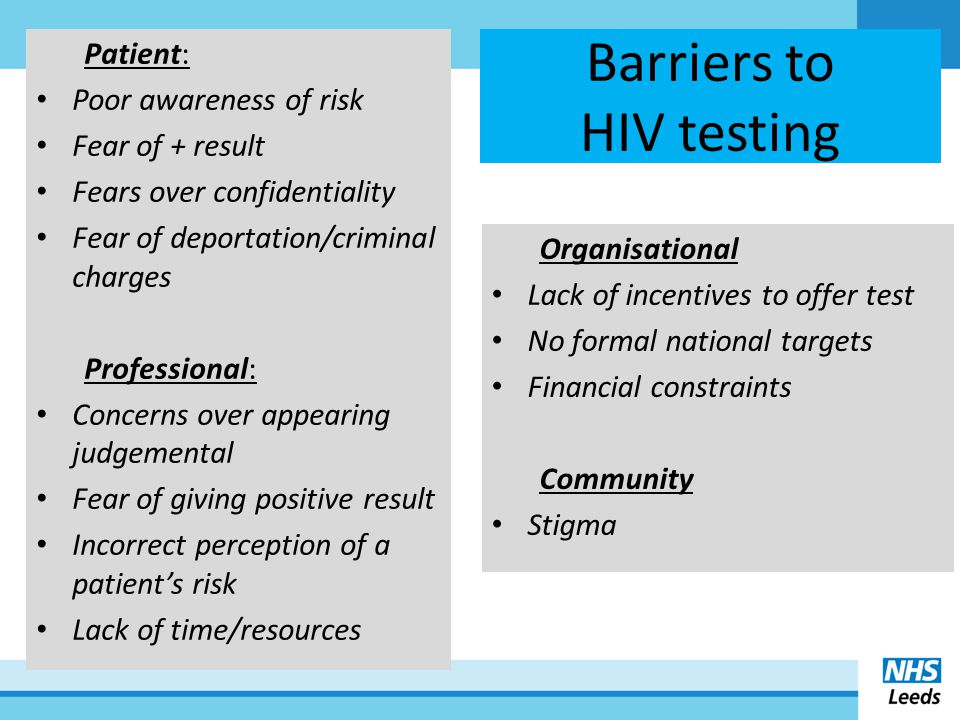 NICE guidance 2011 Two pieces of NICE public health guidance were published in March 2011: [1] Increasing uptake of HIV uptake among Black Africans in England [2] Increasing uptake of HIV uptake among men who have sex with men
