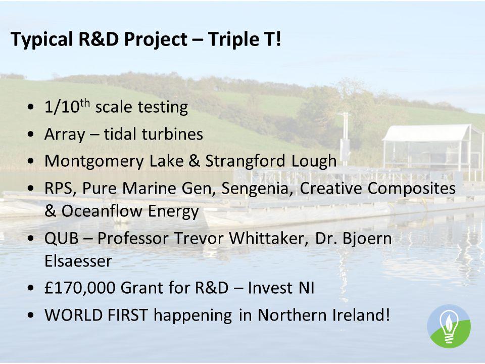 Typical R&D Project – Triple T! 1/10 th scale testing Array – tidal turbines Montgomery Lake & Strangford Lough RPS, Pure Marine Gen, Sengenia, Creati