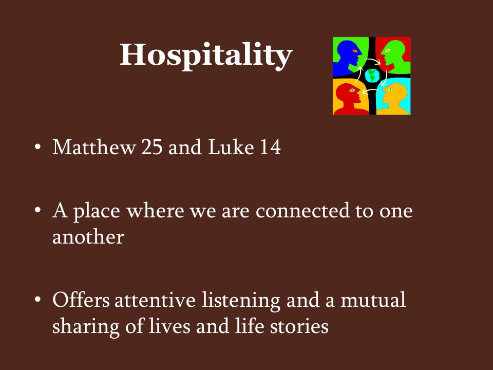 Hospitality as recognition – respecting the image of God in another and seeing their potential contributions as being of equal value Hospitality as resistance – acts of respect and welcome rather than disregard and dishonor