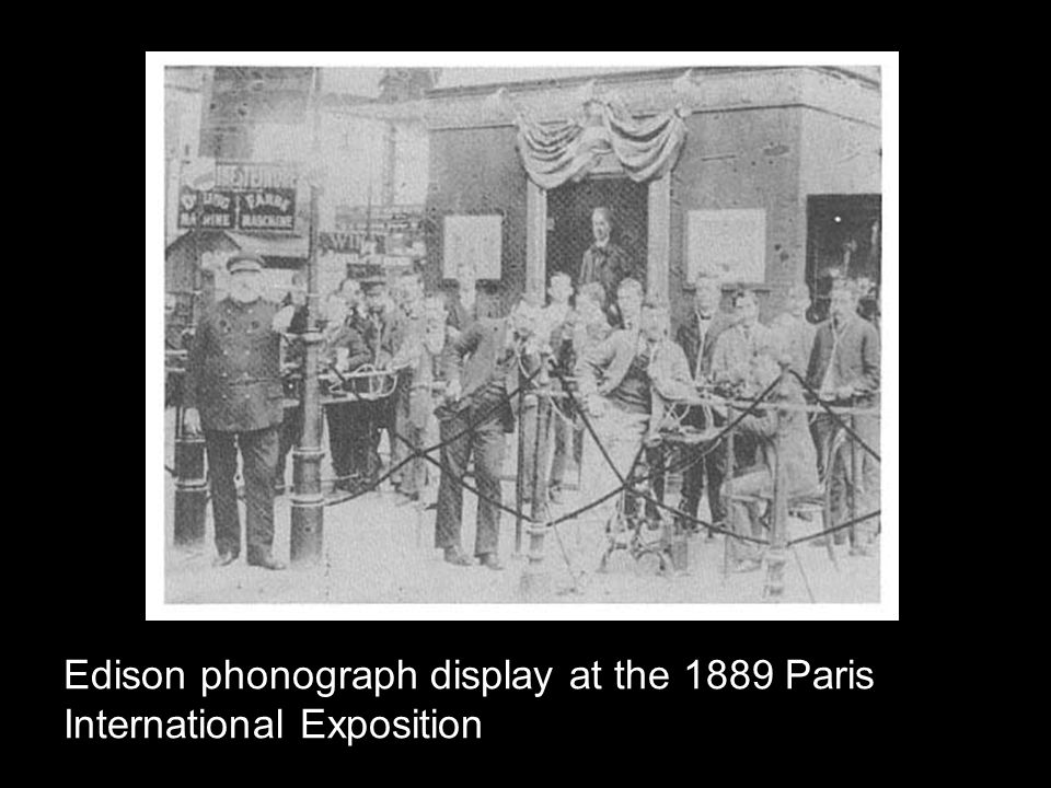 Edison phonograph display at the 1889 Paris International Exposition
