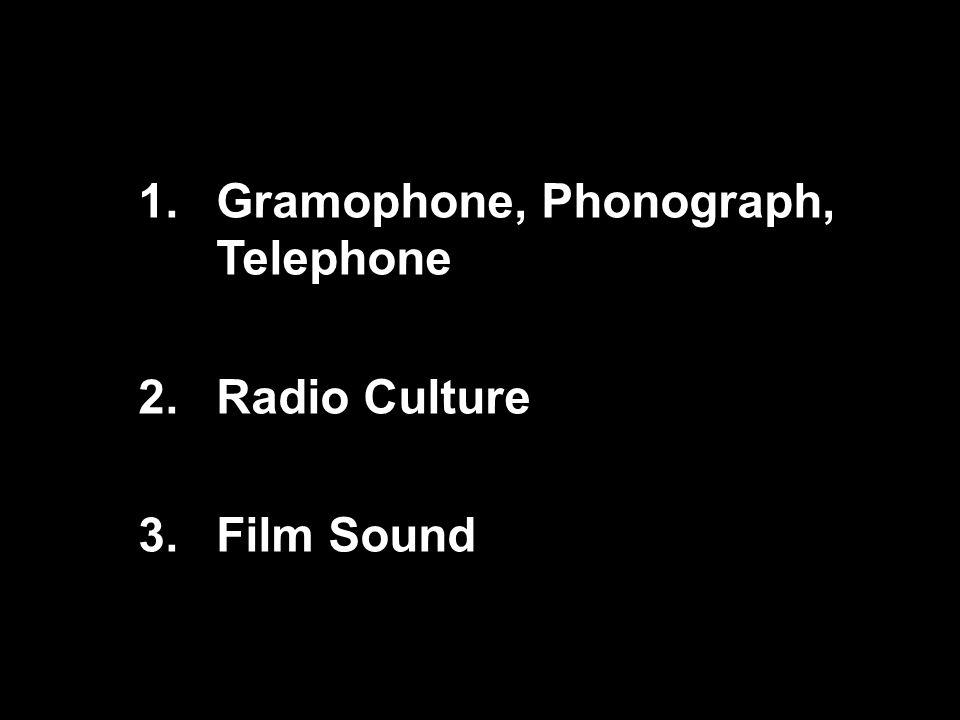 1.Gramophone, Phonograph, Telephone 2.Radio Culture 3.Film Sound
