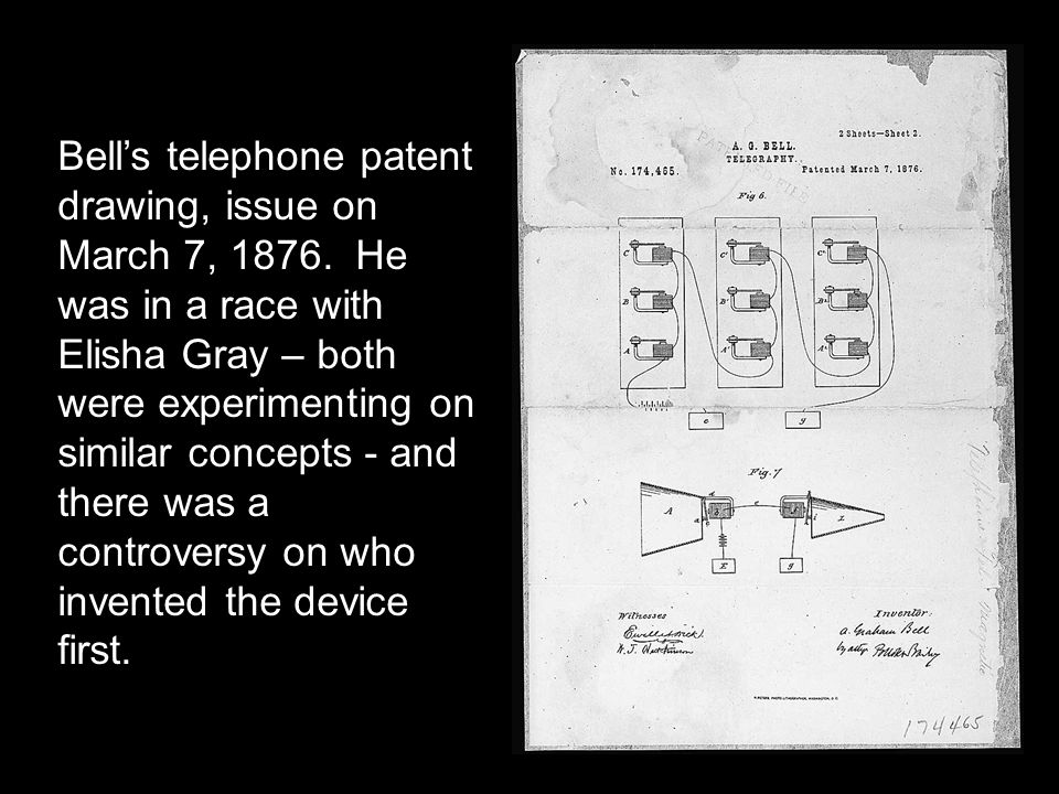 Bell's telephone patent drawing, issue on March 7, 1876.
