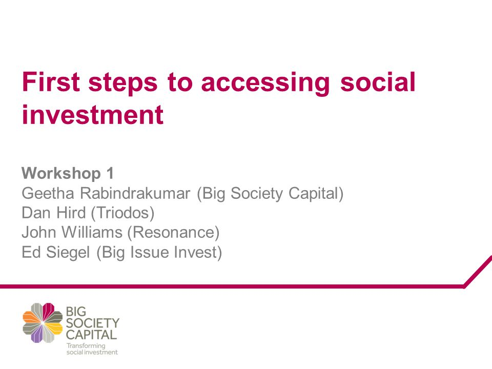 First steps to accessing social investment Workshop 1 Geetha Rabindrakumar (Big Society Capital) Dan Hird (Triodos) John Williams (Resonance) Ed Siege