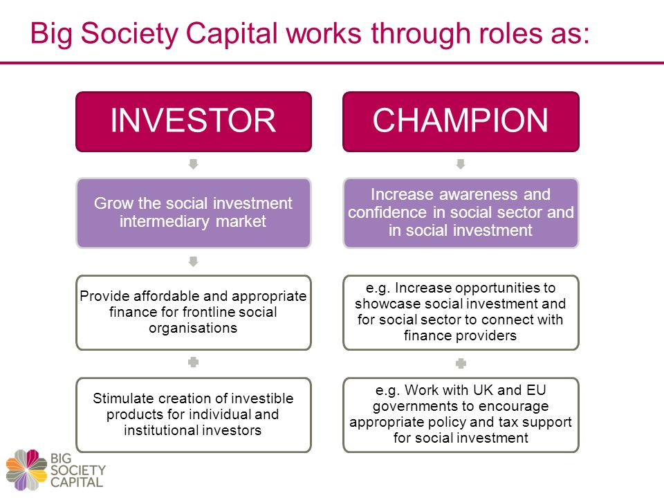 Big Society Capital works through roles as: INVESTOR Grow the social investment intermediary market Provide affordable and appropriate finance for frontline social organisations CHAMPION Increase awareness and confidence in social sector and in social investment e.g.