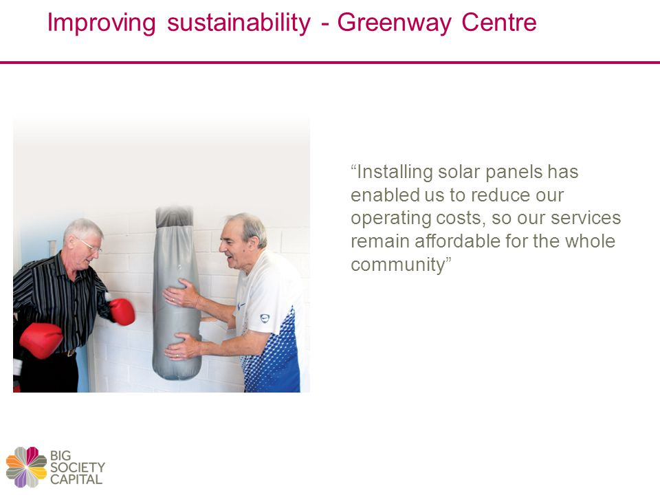 Improving sustainability - Greenway Centre Installing solar panels has enabled us to reduce our operating costs, so our services remain affordable for the whole community