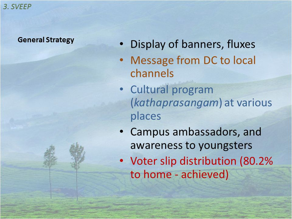 General Strategy Display of banners, fluxes Message from DC to local channels Cultural program (kathaprasangam) at various places Campus ambassadors, and awareness to youngsters Voter slip distribution (80.2% to home - achieved) 3.