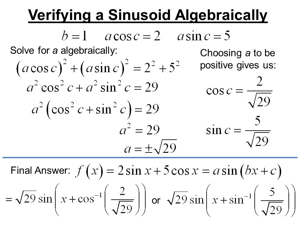 Verifying a Sinusoid Algebraically Solve for a algebraically: Choosing a to be positive gives us: Final Answer: or