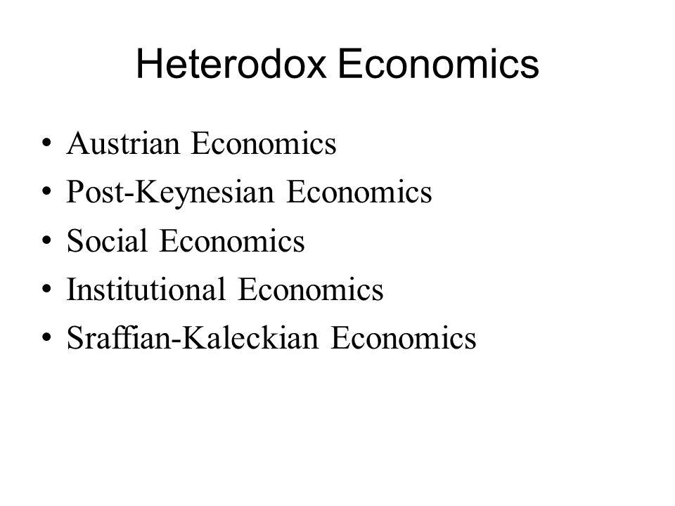 Heterodox Economics Austrian Economics Post-Keynesian Economics Social Economics Institutional Economics Sraffian-Kaleckian Economics
