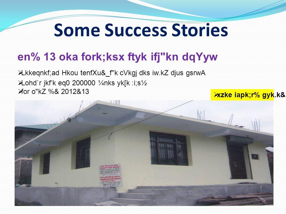 Some Success Stories en% 13 oka fork;ksx ftyk ifj