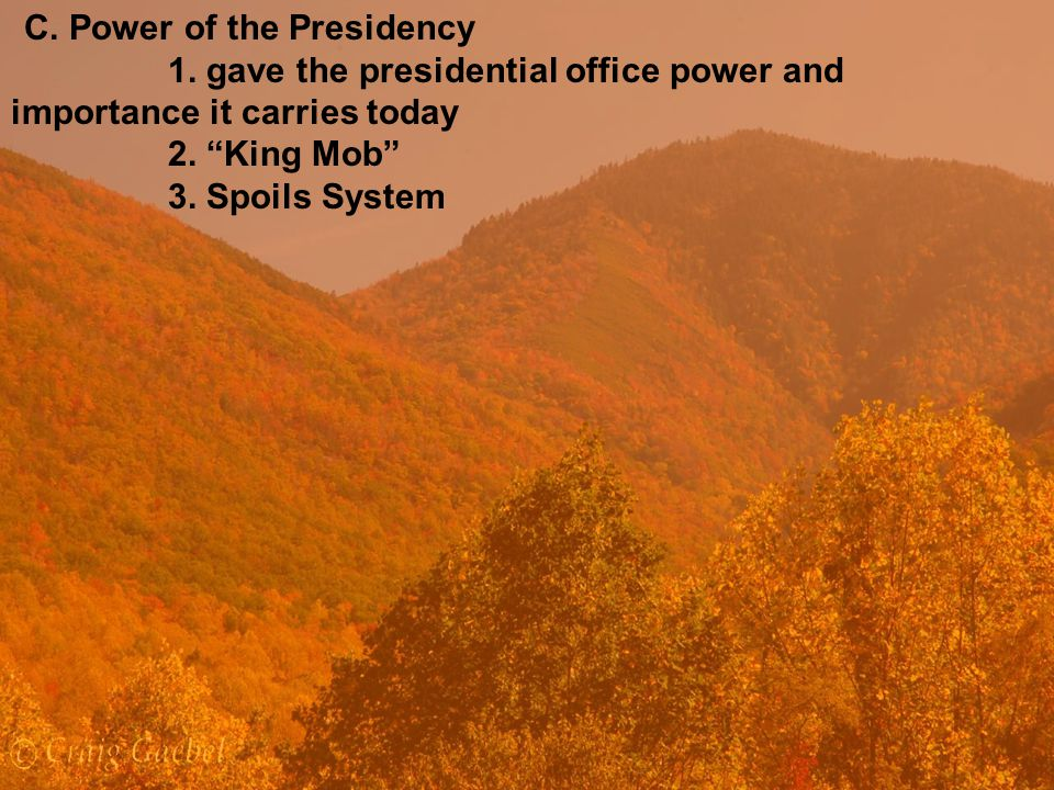 C.Power of the Presidency 1. gave the presidential office power and importance it carries today 2.