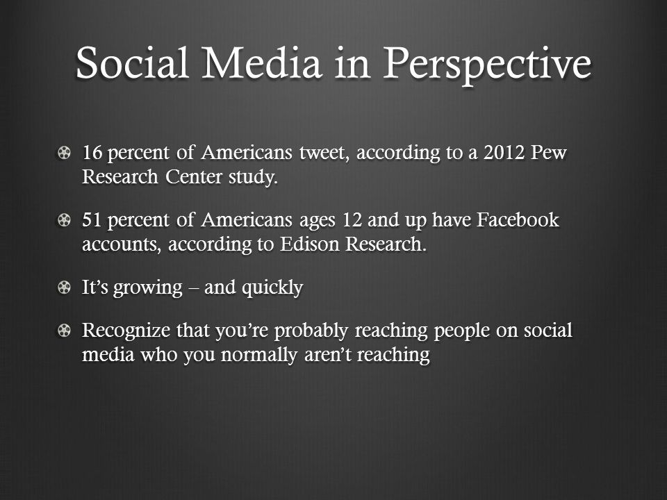 Social Media in Perspective 16 percent of Americans tweet, according to a 2012 Pew Research Center study.