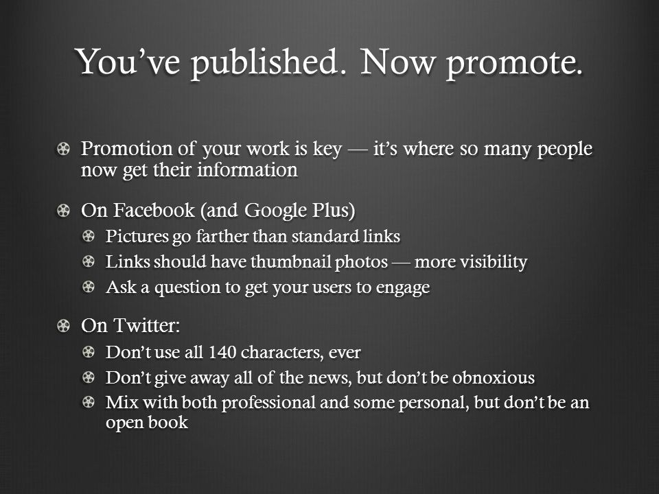 You've published. Now promote.