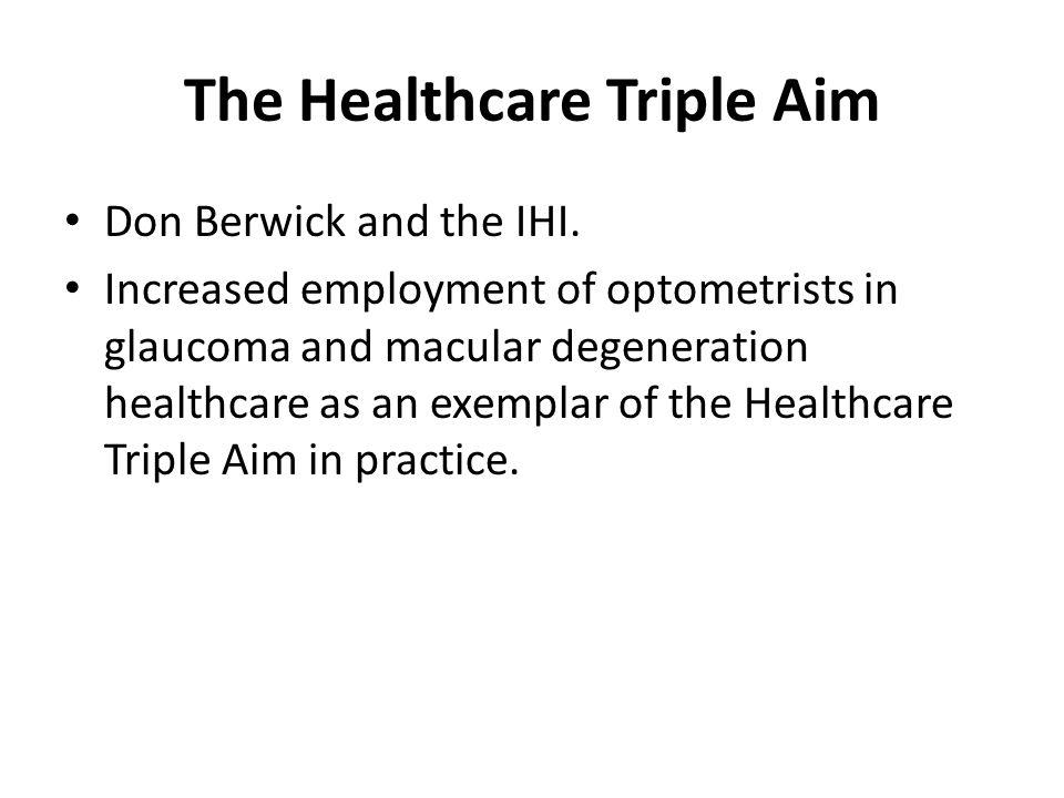 The Healthcare Triple Aim Don Berwick and the IHI.