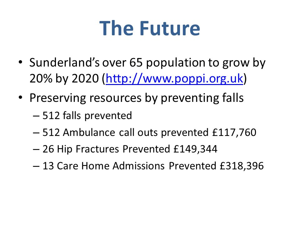The Future Sunderland's over 65 population to grow by 20% by 2020 (http://www.poppi.org.uk)http://www.poppi.org.uk Preserving resources by preventing falls – 512 falls prevented – 512 Ambulance call outs prevented £117,760 – 26 Hip Fractures Prevented £149,344 – 13 Care Home Admissions Prevented £318,396