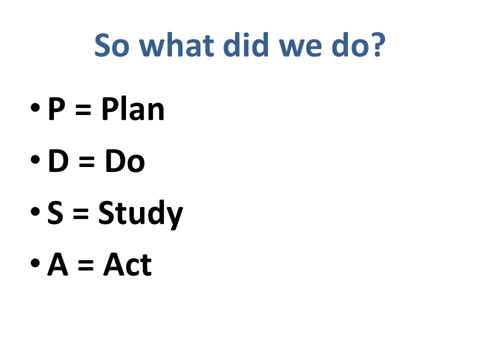 So what did we do P = Plan D = Do S = Study A = Act