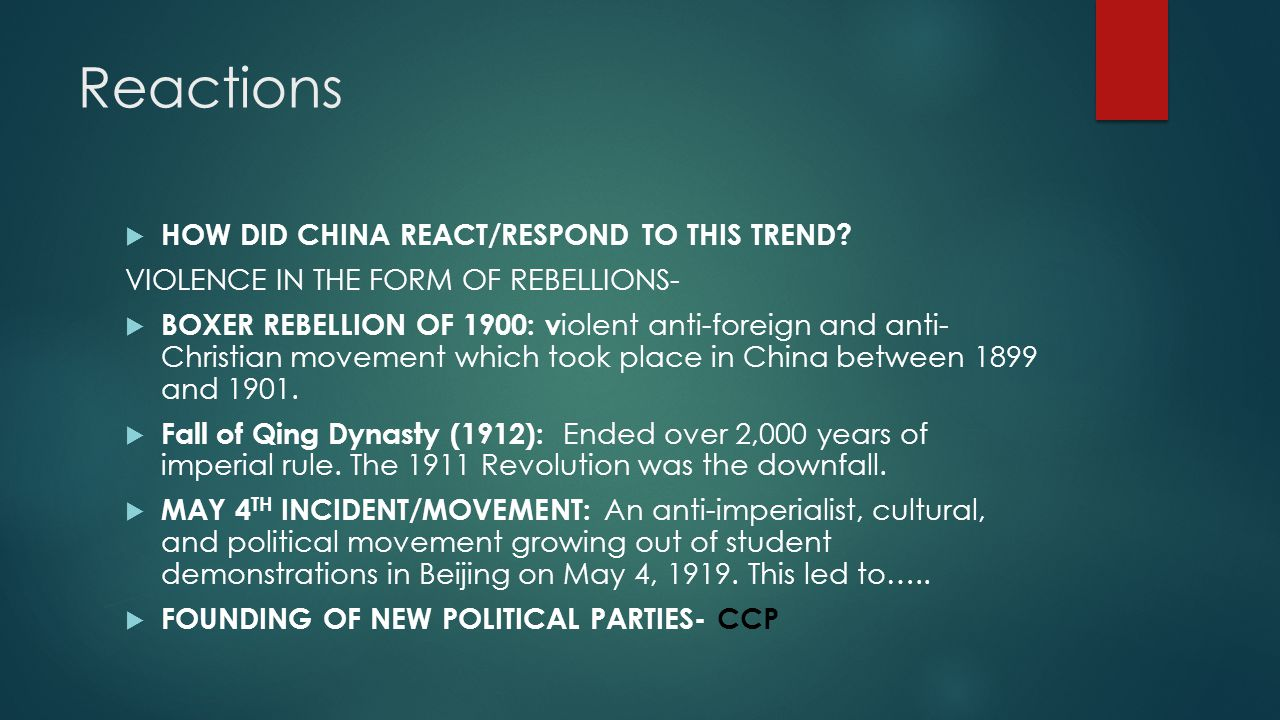 Further Reactions  Further Japanese aggression (Twenty-One Demands, etc.) led to more surges of Chinese patriotism.