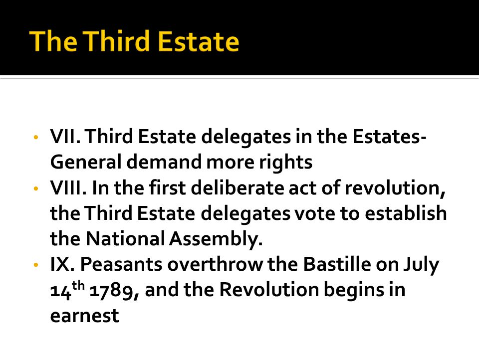 VII. Third Estate delegates in the Estates- General demand more rights VIII.