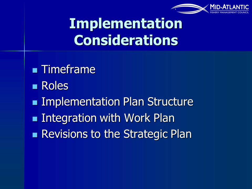 Implementation Considerations Timeframe Timeframe Roles Roles Implementation Plan Structure Implementation Plan Structure Integration with Work Plan I