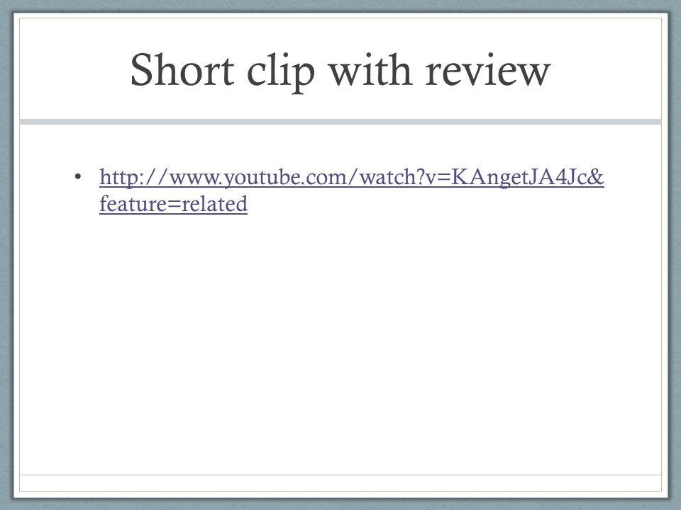 Short clip with review http://www.youtube.com/watch?v=KAngetJA4Jc& feature=related http://www.youtube.com/watch?v=KAngetJA4Jc& feature=related