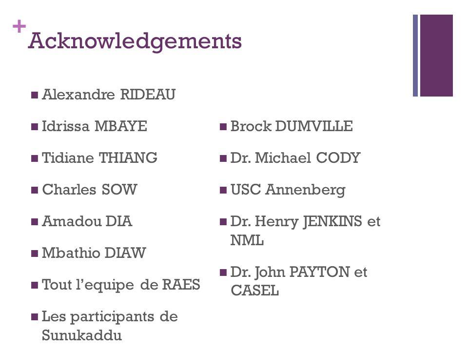 + Acknowledgements Alexandre RIDEAU Idrissa MBAYE Tidiane THIANG Charles SOW Amadou DIA Mbathio DIAW Tout l'equipe de RAES Les participants de Sunukad