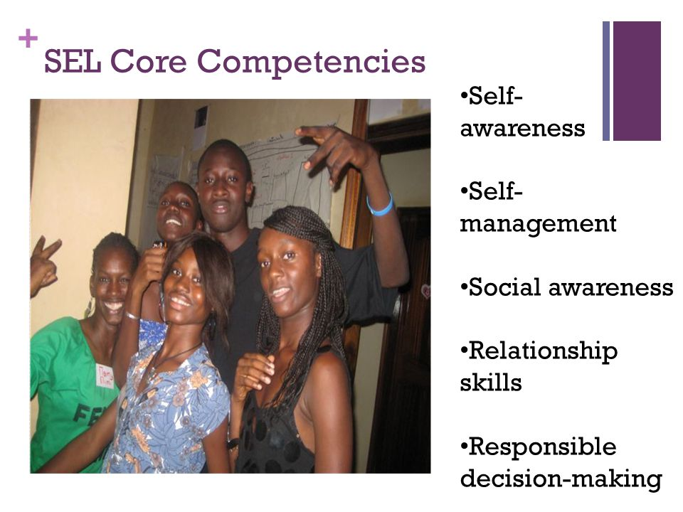 + SEL Core Competencies Self- awareness Self- management Social awareness Relationship skills Responsible decision-making