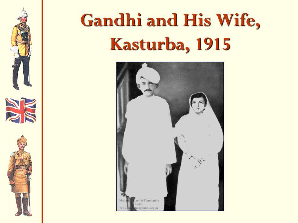 Gandhi and His Wife, Kasturba, 1915