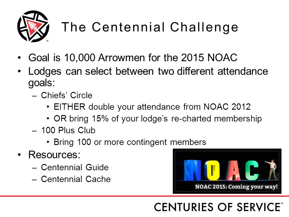 The Centennial Challenge Goal is 10,000 Arrowmen for the 2015 NOAC Lodges can select between two different attendance goals: –Chiefs' Circle EITHER double your attendance from NOAC 2012 OR bring 15% of your lodge's re-charted membership –100 Plus Club Bring 100 or more contingent members Resources: –Centennial Guide –Centennial Cache