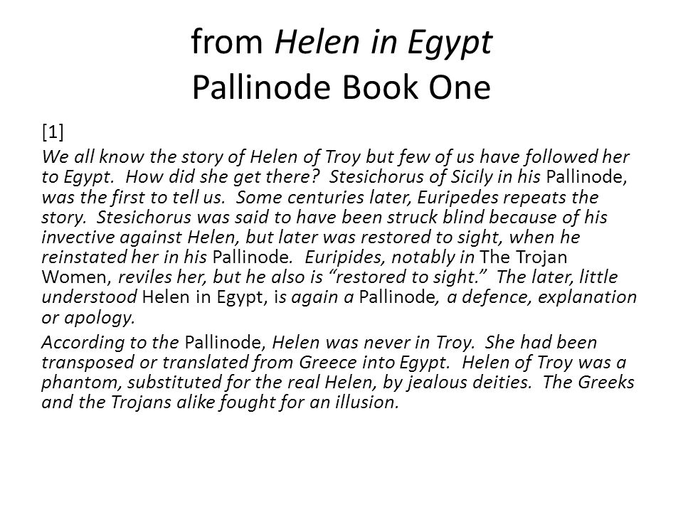 from Helen in Egypt Pallinode Book One
