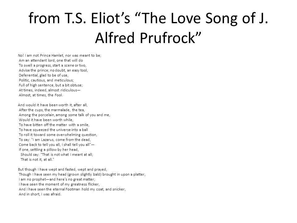 from T.S.Eliot's The Love Song of J. Alfred Prufrock No.