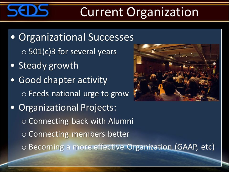 Current Organization Organizational SuccessesOrganizational Successes o 501(c)3 for several years Steady growthSteady growth Good chapter activityGood chapter activity o Feeds national urge to grow Organizational Projects:Organizational Projects: o Connecting back with Alumni o Connecting members better o Becoming a more effective Organization (GAAP, etc)