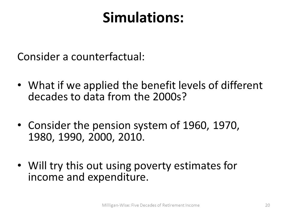 Simulations: Consider a counterfactual: What if we applied the benefit levels of different decades to data from the 2000s.