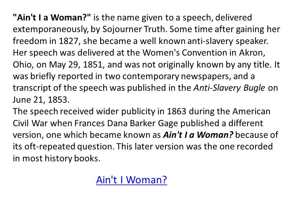 Ain t I Woman.