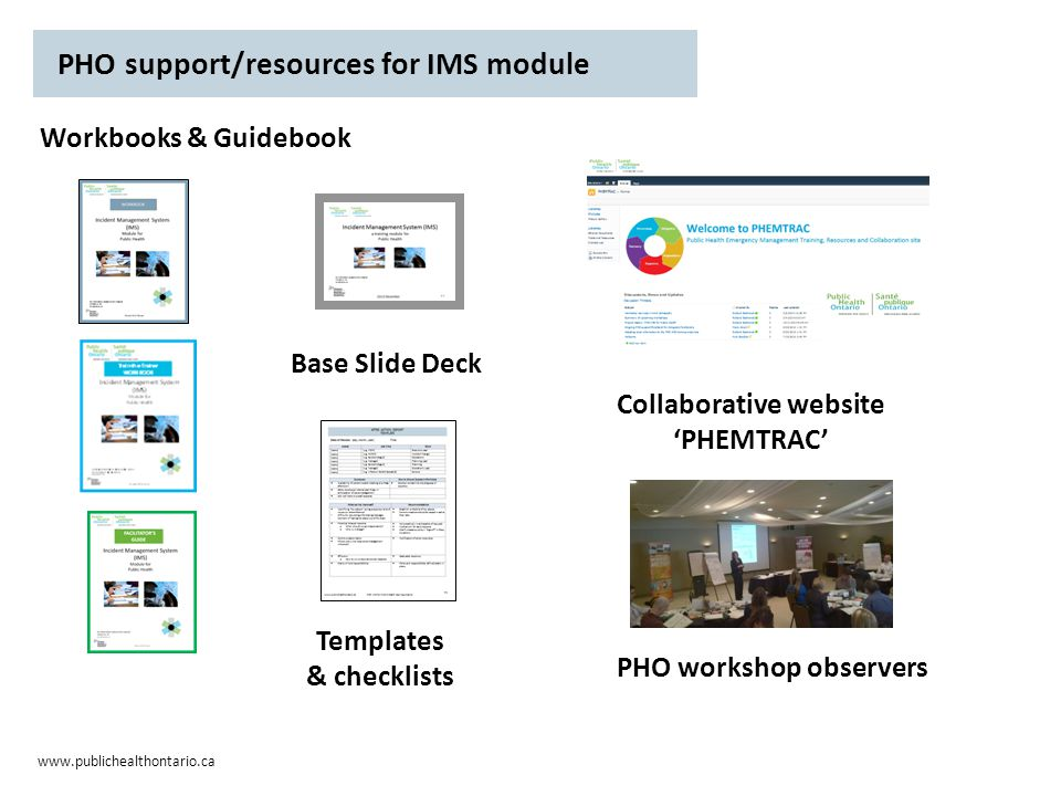 www.publichealthontario.ca Workbooks & Guidebook Base Slide Deck PHO support/resources for IMS module Collaborative website 'PHEMTRAC' PHO workshop observers Templates & checklists
