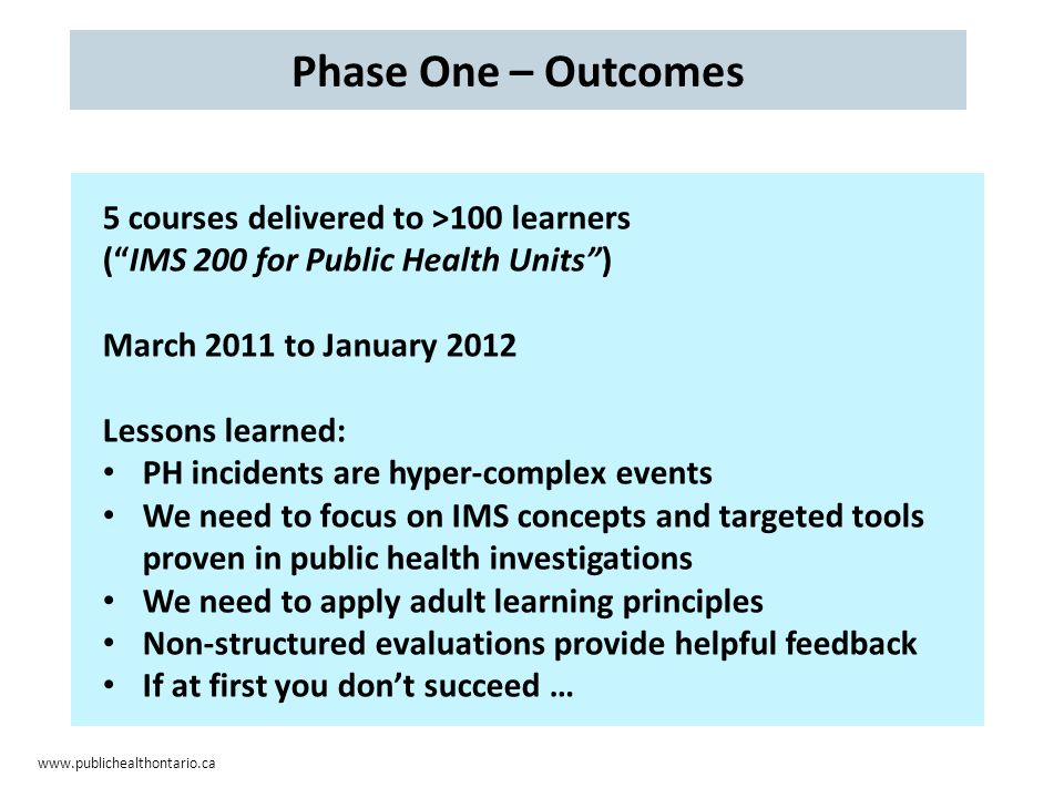 www.publichealthontario.ca Phase One – Outcomes 5 courses delivered to >100 learners ( IMS 200 for Public Health Units ) March 2011 to January 2012 Lessons learned: PH incidents are hyper-complex events We need to focus on IMS concepts and targeted tools proven in public health investigations We need to apply adult learning principles Non-structured evaluations provide helpful feedback If at first you don't succeed …