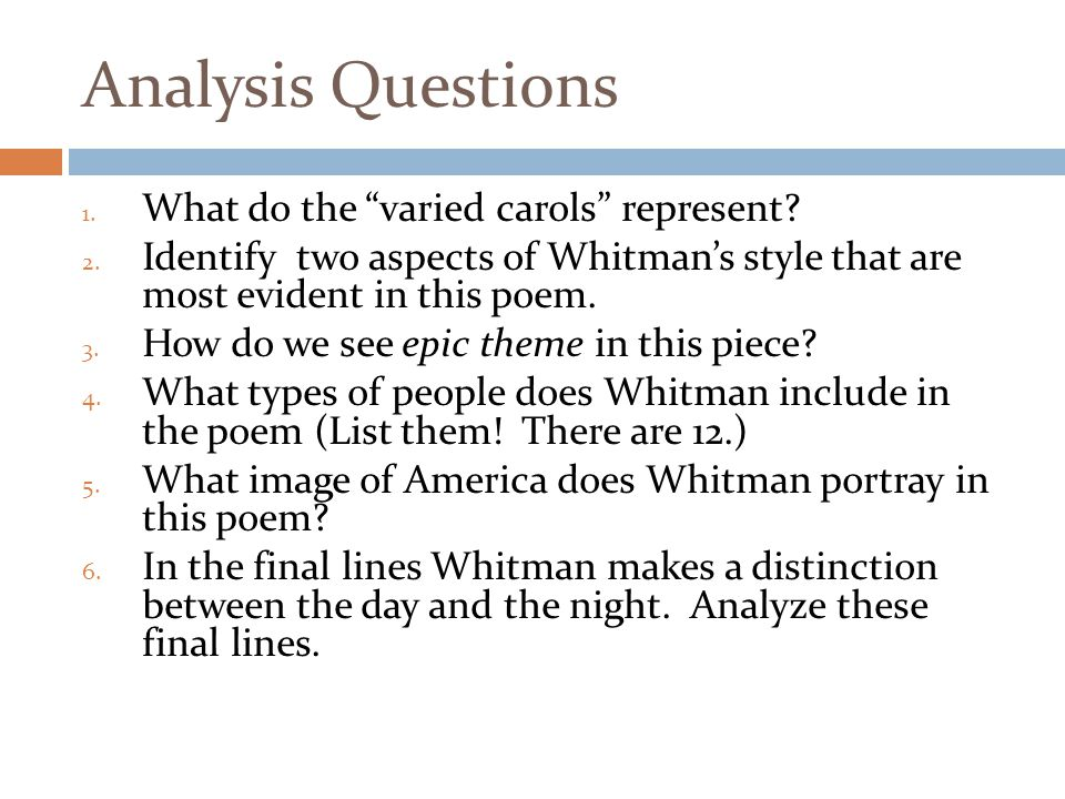 Analysis Questions 1.What do the varied carols represent.
