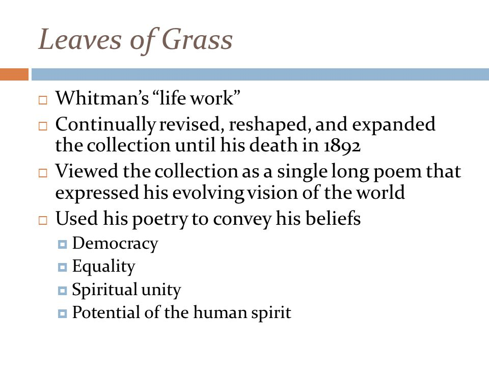 Leaves of Grass  Whitman's life work  Continually revised, reshaped, and expanded the collection until his death in 1892  Viewed the collection as a single long poem that expressed his evolving vision of the world  Used his poetry to convey his beliefs  Democracy  Equality  Spiritual unity  Potential of the human spirit