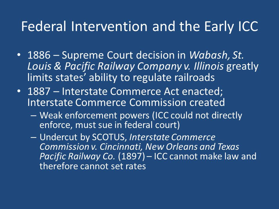 A Defanged ICC & Progressive Fixes Progressives and rural populists want an ICC with teeth (Elkins Act (1903) banned rebates but failed to grant direct enforcement) T.
