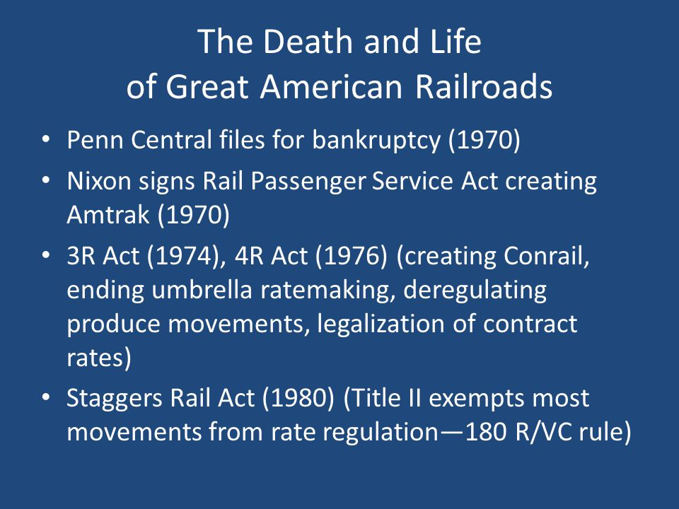 The [Freight] Rail Renaissance Operating nearly 140,000 miles of track Average real rail rates down 44% since 1980 while ton- miles have doubled Over $20 billion in annual private investment since 2007 Today, U.S.