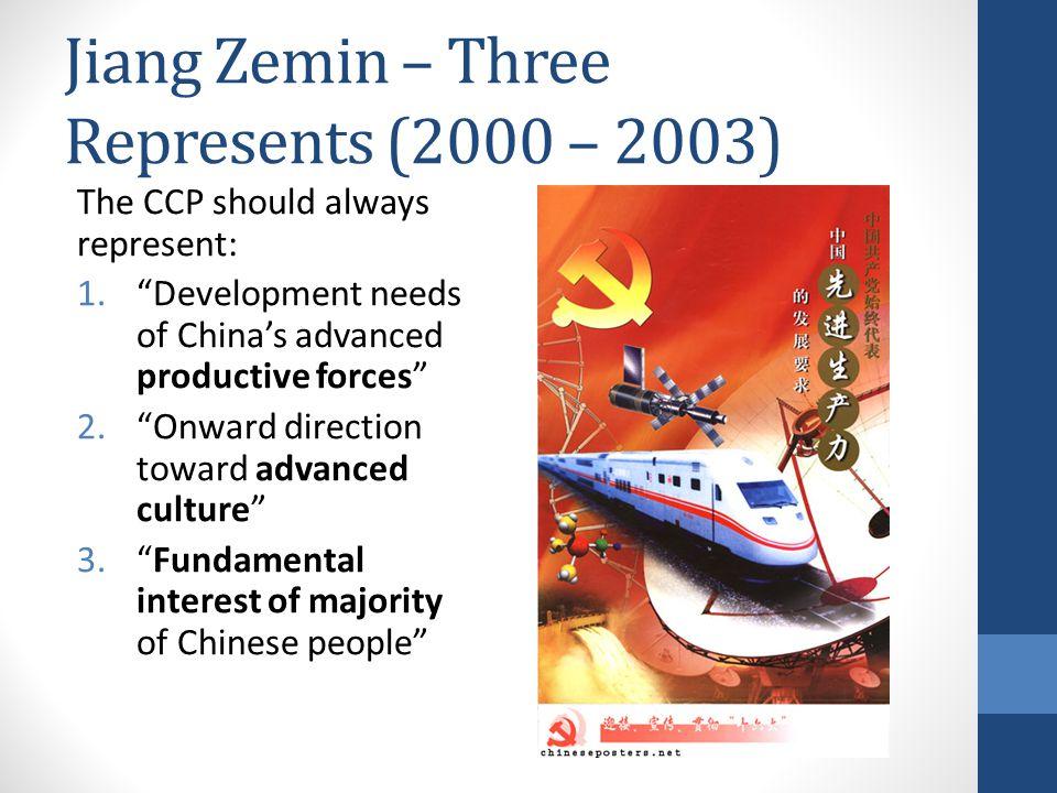 "Jiang Zemin – Three Represents (2000 – 2003) The CCP should always represent: 1.""Development needs of China's advanced productive forces"" 2.""Onward di"