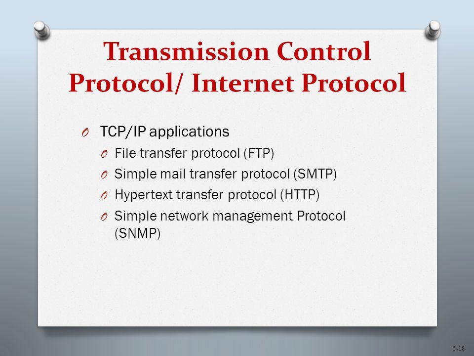 5-18 Transmission Control Protocol/ Internet Protocol O TCP/IP applications O File transfer protocol (FTP) O Simple mail transfer protocol (SMTP) O Hypertext transfer protocol (HTTP) O Simple network management Protocol (SNMP)