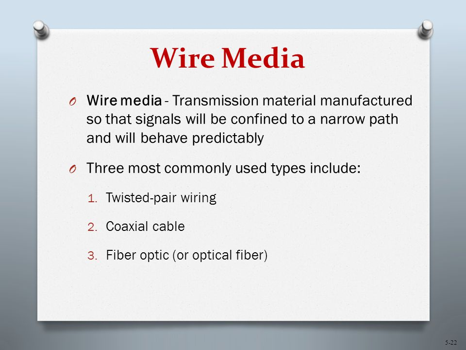 5-22 Wire Media O Wire media - Transmission material manufactured so that signals will be confined to a narrow path and will behave predictably O Three most commonly used types include: 1.