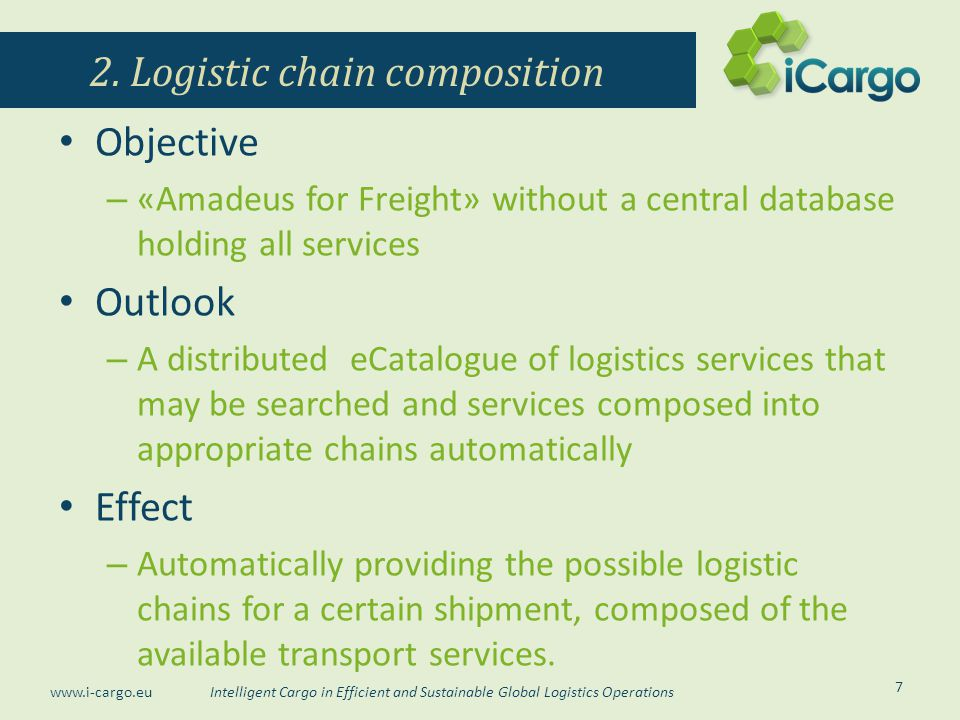 Intelligent Cargo in Efficient and Sustainable Global Logistics Operations www.i-cargo.eu Objective – «Amadeus for Freight» without a central database holding all services Outlook – A distributed eCatalogue of logistics services that may be searched and services composed into appropriate chains automatically Effect – Automatically providing the possible logistic chains for a certain shipment, composed of the available transport services.