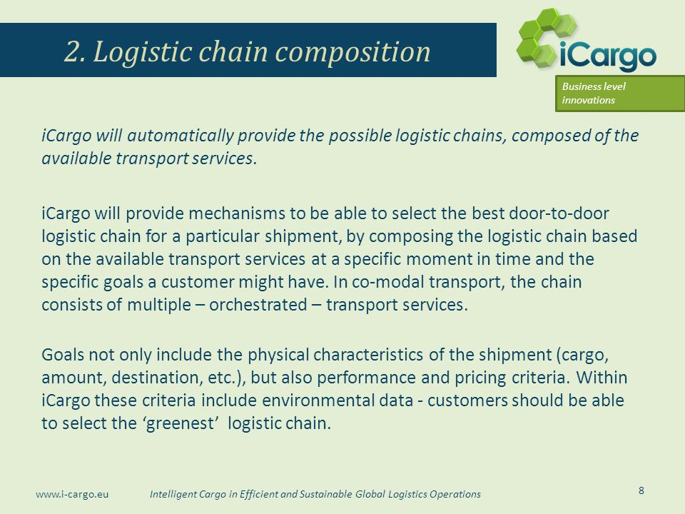 Intelligent Cargo in Efficient and Sustainable Global Logistics Operations www.i-cargo.eu iCargo will automatically provide the possible logistic chai