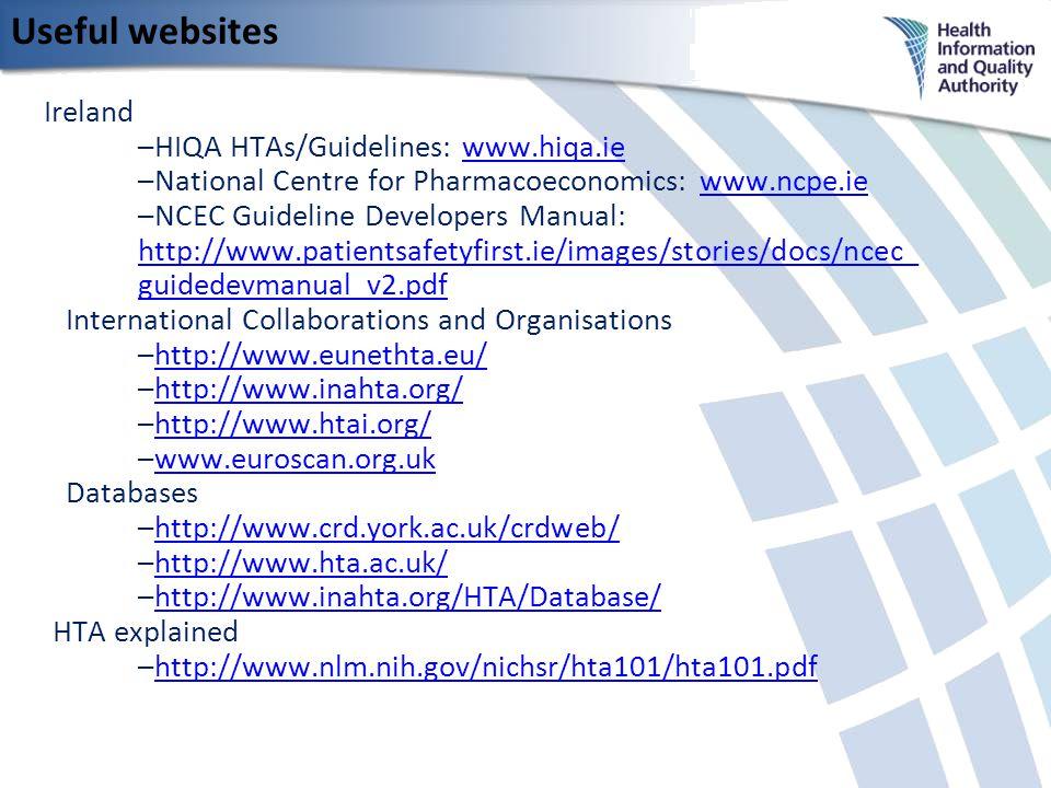 Useful websites Ireland –HIQA HTAs/Guidelines: www.hiqa.iewww.hiqa.ie –National Centre for Pharmacoeconomics: www.ncpe.iewww.ncpe.ie –NCEC Guideline Developers Manual: http://www.patientsafetyfirst.ie/images/stories/docs/ncec_ guidedevmanual_v2.pdf http://www.patientsafetyfirst.ie/images/stories/docs/ncec_ guidedevmanual_v2.pdf International Collaborations and Organisations –http://www.eunethta.eu/http://www.eunethta.eu/ –http://www.inahta.org/http://www.inahta.org/ –http://www.htai.org/http://www.htai.org/ –www.euroscan.org.ukwww.euroscan.org.uk Databases –http://www.crd.york.ac.uk/crdweb/http://www.crd.york.ac.uk/crdweb/ –http://www.hta.ac.uk/http://www.hta.ac.uk/ –http://www.inahta.org/HTA/Database/http://www.inahta.org/HTA/Database/ HTA explained –http://www.nlm.nih.gov/nichsr/hta101/hta101.pdfhttp://www.nlm.nih.gov/nichsr/hta101/hta101.pdf