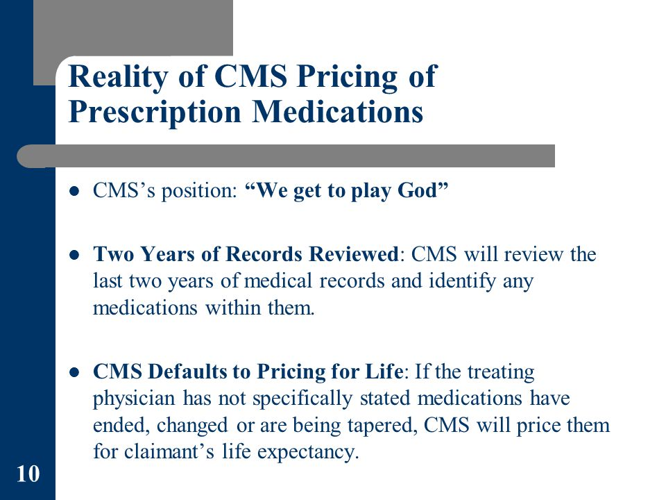 Reality of CMS Pricing of Prescription Medications CMS's position: We get to play God Two Years of Records Reviewed: CMS will review the last two years of medical records and identify any medications within them.