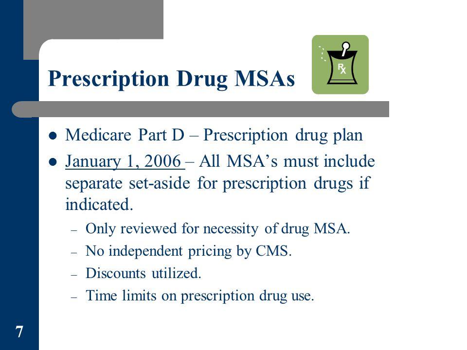 Prescription Drug MSAs Medicare Part D – Prescription drug plan January 1, 2006 – All MSA's must include separate set-aside for prescription drugs if indicated.