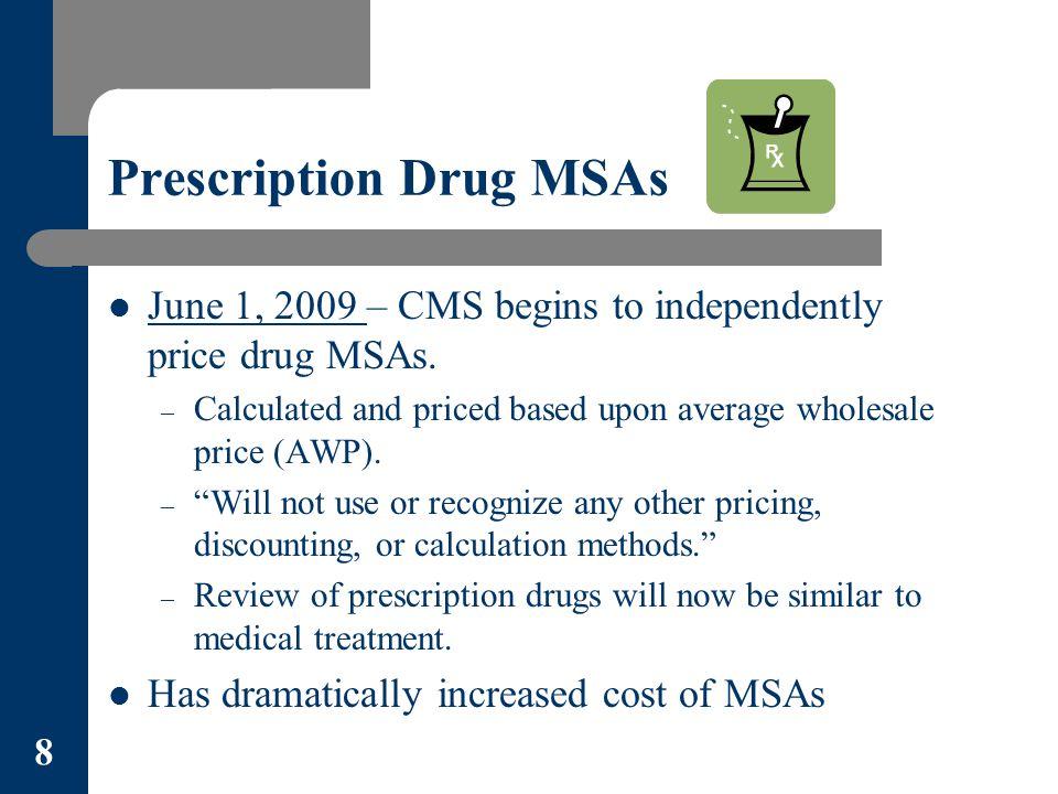 Prescription Drug MSAs June 1, 2009 – CMS begins to independently price drug MSAs.